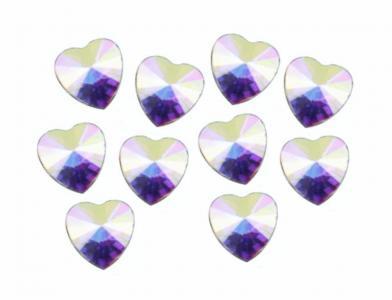 Стразы крупные сердце голография (10шт)