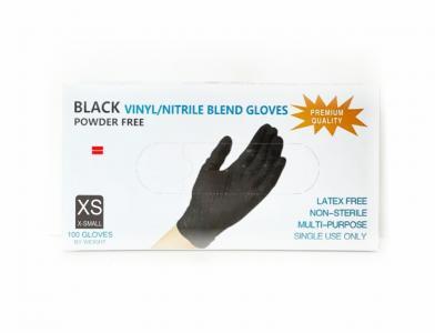 Перчатки Vinil/Nitrile (черные) XS 100шт