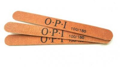 Пилка маникюрная коричневая OPI (прямая тонкая) 100/180 дерево