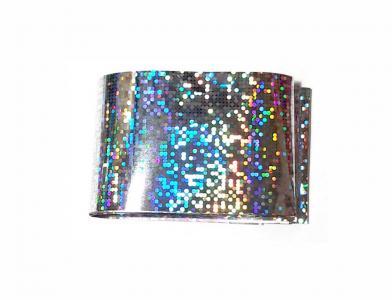 Фольга переводная серебро диско голография 1м