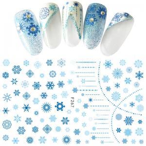 267F Наклейка для дизайна Снежинка синяя